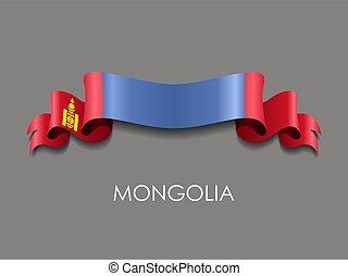 Mongolian flag wavy ribbon background. Vector illustration...