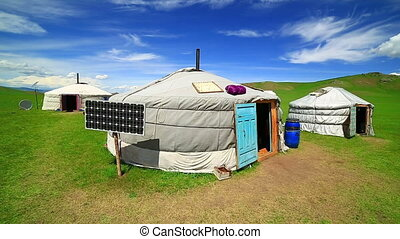 Mongolian ger camps with solar power, TV satellite and...