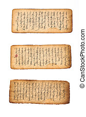 Three pieces of ancient mongolian manuscript in fairly good condition. Circa 18-19th century. Mongolian script is written top to bottom left to right both sides. Contrast added.