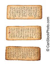 Mongolian manuscript - Three pieces of ancient mongolian ...