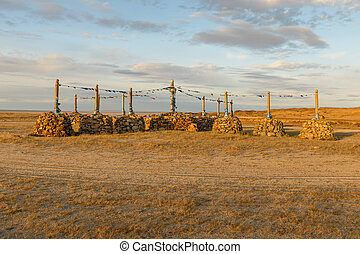 Mongolian Ovoo, cult place - Mongolian Ovoo, Ceremonial Rock...
