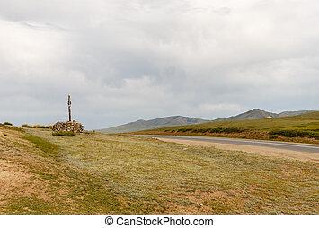 Mongolian Ovoo, cult place - Mongolian Ovoo, Sacred pass on...