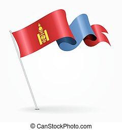 Mongolian pin wavy flag. Vector illustration. - Mongolian ...