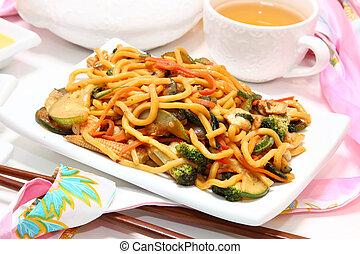 Mongolian stir fry with lo main, chicken, brocolli, zuchini, baby corn...