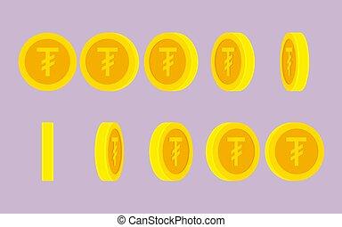 Mongolian Tugrik coin spin animation sprite sheet -...