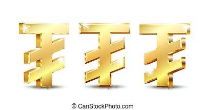 Mongolian tugrik currency symbol, golden money sign, vector ...