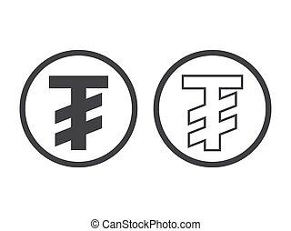 Mongolian tugrik currency symbol, vector illustration...