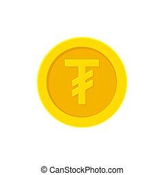 Mongolian Tugrik gold coin icon isolated on white -...