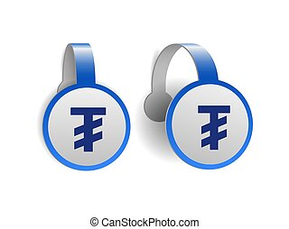Mongolian tugrik symbol on Blue advertising wobblers. ...