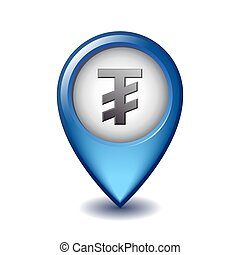 Mongolian tugrik symbol on Mapping Marker vector icon. ...