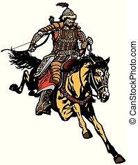 mongolian warrior horse rider - Mongolian archer warrior on...