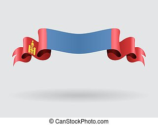 Mongolian wavy flag. Vector illustration. - Mongolian flag ...