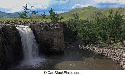 mongolie, central, chute eau, orkhon