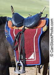 mongolisch, pferdesattel
