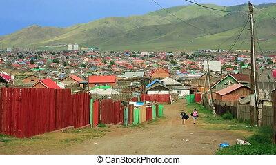 mongolski, ger, na, ulaanbaatar, przedmieścia