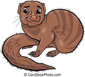 mongoose, animální, karikatura, ilustrace