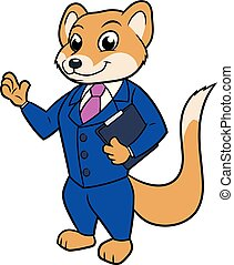 Mongoose businessman with a briefcase