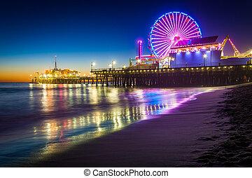 monica, 夜, santa, 桟橋, monica, california.