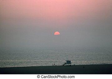 monica, california 日の入, santa, 浜