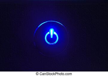 moniteur, bouton puissance, closeup, dans, bouton puissance