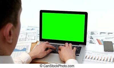 moniteur, bureau, ordinateur portable, main, vert, clavier, écran, homme