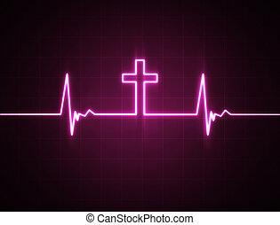 moniteur coeur, croix