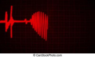 moniteur coeur, valentin, boucle, pulsation, rouges