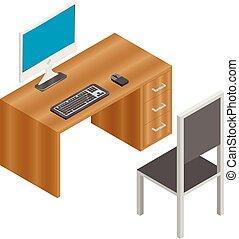 moniteur, fauteuil, bois, ordinateur clavier, bureau