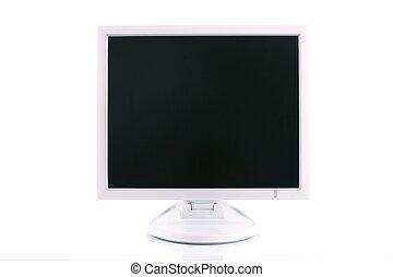 moniteur, grand écran, lcd, blanc, vide