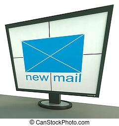 moniteur, messages, enveloppe, courrier, nouveau, spectacles