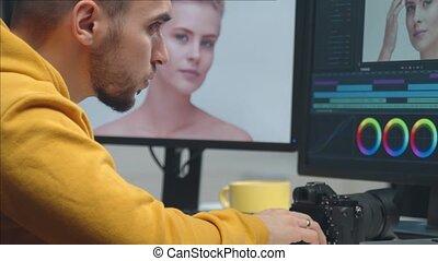 moniteur, montage, utilisation, indépendant, métrage, ...