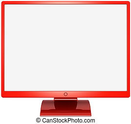 moniteur ordinateur, rouges, coloré