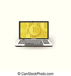 moniteur plat ordinateur, ordinateur portable, vecteur, bitcoins