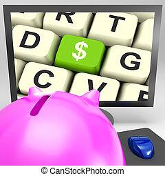 moniteur, projection, dollar, américain, clã©, investissements