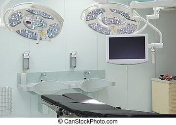 moniteur, room., équipement, desk., opération, lampes, spécial