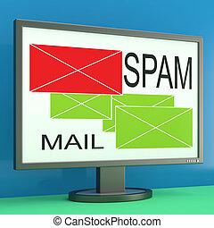 moniteur, spam, enveloppes, ligne, courrier, sécurité, spectacles