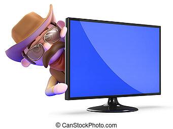 moniteur télévision, shérif, cow-boy, flatscreen, derrière, 3d