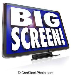 moniteur télévision, tv, grand écran, hdtv, mots, exposer