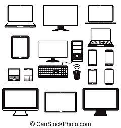 moniteur, tablette, mobile, écran, ordinateur portable, informatique