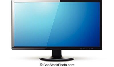 moniteur, tv, 3d, icône