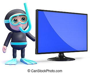 moniteur, tv, flatscreen, suivant, lcd, snorkel, plongeur, 3d