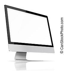 monitor., écran plat visualisation, informatique