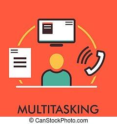 monitor., 平ら, elements., concept., 電話。, icon., computer., デザイン, 線, アイコン, paper., multitasking., design.