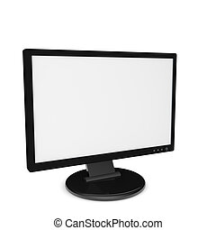 3D Render of a black monitor with blank white screen on white background.
