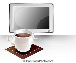 monitor and cup of coffee