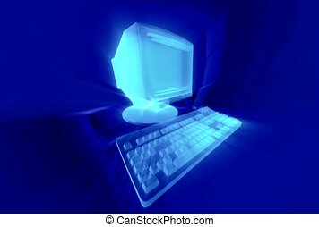 Monitor and Keyboard in Blue.