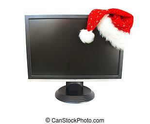 Monitor and Santa Claus hat