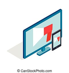 Monitor and tablet icon, isometric 3d style