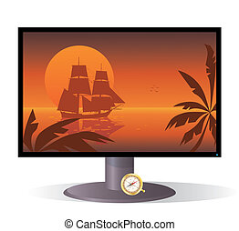 vector illustration of the monitor with tall ship of XVIII century at sunset