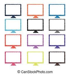 monitor., apartamento, abstratos, vetorial, desenho, chocado